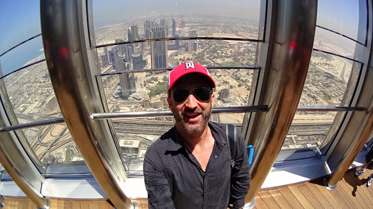 On top of the Burj Khalifa in Dubai
